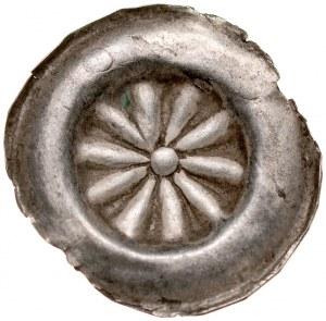 Brakteat guziczkowy II poł. XIII w., nieokreślona dzielnica, Av.: Rozeta dziesięciolistna z kulą w środku.