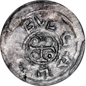 Bolesław III Krzywousty 1107-1138, Denar, Av.: Książę i Św. Wojciech, Rv.: Krzyż, między ramionami kropki, napis.