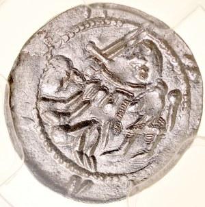 Władysław II Wygnaniec 1138-1146, Denar, Av.: Książę i jeniec, Rv.: Orzeł i zając, przed nimi kwiatek.