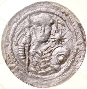 Władysław II Wygnaniec 1138-1146, Denar, A.: Książę z proporcem i tarczą, w polu gwiazda, Rv.: Walka z lwem.