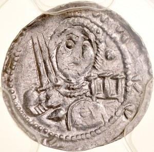 Władysław II Wygnaniec 1138-1146, Denar, Av.: Książę z mieczem i tarczą, na niej krzyż, w polu litera S, Rv.: Biskup z pastorałem, biblią, i krzyżem.