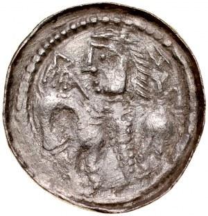 Bolesław Śmiały 1058-1079, Denar, typ książęcy, Av.: Mała głowa i napis otokowy, Rv.: Książe z włócznią na koniu, w polu litery zS