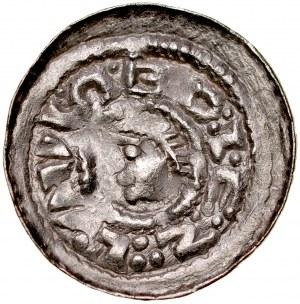 Bolesław Śmiały 1058-1079, Denar, typ książęcy, Av.: Mała głowa i napis otokowy, Rv.: Książe z włócznią na koniu, w polu litery zSc.