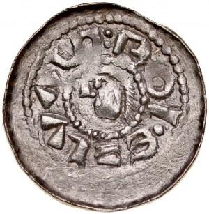 Bolesław Śmiały 1058-1079, Denar, typ książęcy, Av.: Mała głowa i napis otokowy, Rv.: Książe z włócznią na koniu, za nim litera S.