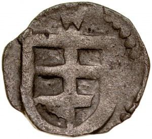 Jadwiga i Władysław Jagiełło 1386-1399, Denar, Wschowa, Av.: Orzeł piastowski, Rv.: Podwójny krzyż w tarczy.