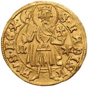 Władysław II Jagiellończyk 1434-1444, Floren, Av.: Stojący Św. Ladislaw, Rv.: Tarcza herbowa.