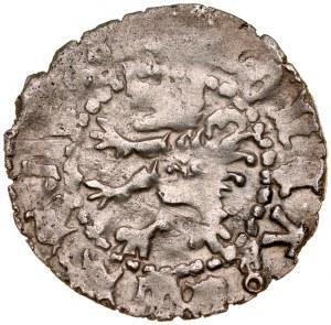 Władysław Opolczyk 1372-1379, Kwartnik ruski, Av.: Litera W w ornamencie, Rv.: Lew.