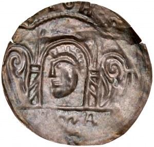 Ks. Wrocławskie, Bolesław Wysoki 1177-1201, Brakteat, Wrocław, Av.: Głowa św. Jana pod arkadą, RR