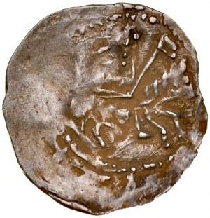 Ks. Opolsko-Raciborskie, Władysław II 1163-1177, Denar, Av.: Książę na koniu, Rv.: Walka ze lwem.