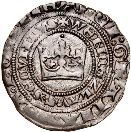 Wacław II 1300-1305, Grosz praski, Av.: Korona królewska, Rvc.: Lew czeski.