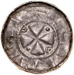 Denar krzyżowy XI w., Av.: Krzyż kawalerski, Rv.: Proporzec, krzyż, litera S.