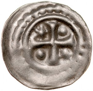 Brakteat guziczkowy II poł. XIII w., nieokreślona dzielnica, Av.: Krzyż równoramienny, między ramionami dwie kropki i dwie gwiazdki, obwódka perełkowa.