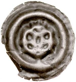 Brakteat guziczkowy II poł. XIII w., nieokreślona dzielnica, Av.: Głowa?, Rozeta?