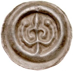 Pomorze Wschodnie, Świątopełk II Wielki 1217-1266, Brakteat guziczkowy, Pomorze Gdańskie, Av.: Lilia z gałązką, RR.