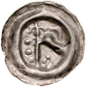 Pomorze Wschodnie, Świątopełk II Wielki 1217-1266, Brakteat guziczkowy, Pomorze Gdańskie, Av.: Ptak w prawo, w jego dziobie lilia, bo bokach kule. RR.
