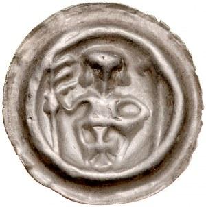 Pomorze Wschodnie, Świątopełk II Wielki 1217-1266, Brakteat guziczkowy, Av.: Rycerz zakonny, RRR.