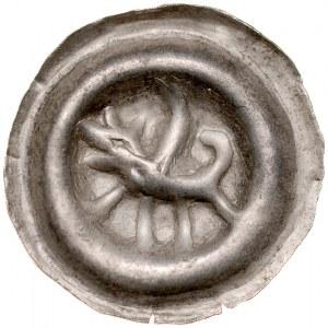 Pomorze Wschodnie, Sambor II 1217-1278, Brakteat guziczkowy, Pomorze Gdańskie, Av.: Gryf na tarczy, RR.