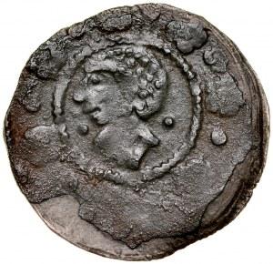 Wacław II 1300-1305, Kwartnik, Wielkopolska, Av.: Głowa Saracena, Rv.: Lew czeski. RRR.