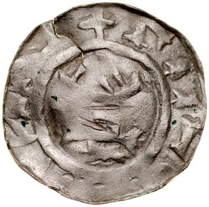Denar typu OAP XI w., imitacja, Av.: Kapliczka, dookoła imitacja napisu, Rv.: Krzyż grecki, dookoła imitacja napisu.