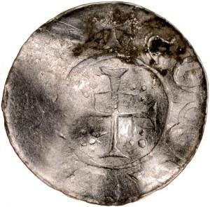 Denar typu OAP XI w., imitacja, Av.: Kapliczka, dookoła imitacja napisu, Rv.: Krzyż prosty wpisany na kwadracie z ozdobnymi narożnikami.