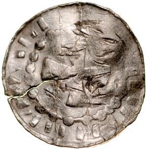 Denar typu OAP XI w., imitacja, Av.: Kapliczka, w polu litera O, dookoła imitacja napisu, Rv.: Krzyż grecki, dookoła imitacja napisu.