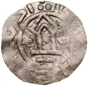 Denar typu OAP XI w., imitacja, Av.: Kapliczka, po bokach kropka i kółko, dookoła imitacja napisu, Rv.: Krzyż prosty, między ramionami znaki, dookoła imitacja napisu.