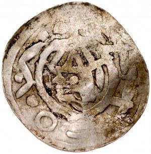 Denar typu OAP XI w., imitacja, Av.: Kapliczka, z boku pionowa kreska, dookoła imitacja napisu, Rv.: Krzyż prosty, między jego ramionami kółka..