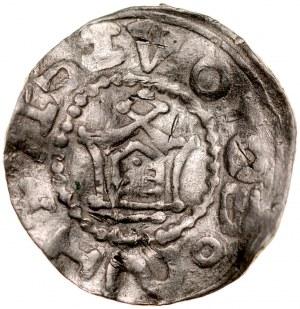 Denar typu OAP XI w., imitacja, Av.: Kapliczka, dookoła imitacja napisu, Rv.: Krzyż prosty, między jego ramionami małe kółka.