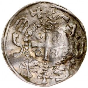 Denar, XI w, imitacja, Av.: Krzyż krokwiasty, między ramionami duże kółka, dookoła imitacja napisu, Rv.: Krzyż prosty, dookoła imitacja napisu.