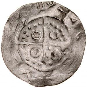 Denar z grupy Łupawskiej, XI w., imitacja, Av.: Ornament, po bokach kółka, dookoła imitacja napisu, Rv.: Krzyż prosty, między ramionami kółka i kropki.