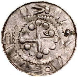 Denar krzyżowy XI w., Av.: Krzyż kawalerski, między ramionami kółko i trójkąt, Rv.: Krzyż prosty, między ramionami duże kropki, jedna z par połączona pałąkiem.