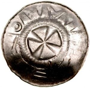 Denar krzyżowy XI w., Av.: Krzyż kawalerski, Rv.: Alfa, Omega.