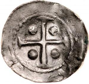 Denar krzyżowy XI w., Av.: Krzyż kawalerski bez ozdobników, Rv.: Krzyż krokwiasty, między ramionami duże kropki.
