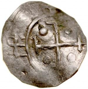 Mieszko II 1025-1031, Denar 1013-1025, Wielkopolska, Av.: Kopuła świątyni, po bokach pałąki, Rv.: Krzyż krokwiasty, między ramionami kule.