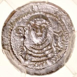 Władysław II Wygnaniec 1138-1146, Denar, Av.: Książę z mieczem i tarczą, nad nią krzyż, Rv.: Biskup z pastorałem, biblią, i krzyżem.