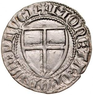 Winrych von Kniprode 1351-1382, Szeląg, Av.: Tarcza wielkiego mistrza, Rv.: Tarcza krzyżacka.