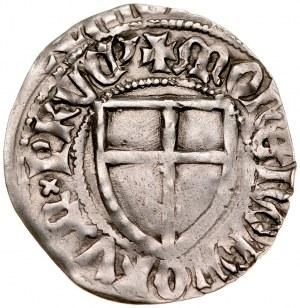 Konrad von Jungingen 1393-1407, Szeląg, Av.: Tarcza wielkiego mistrza, Rv.: Tarcza krzyżacka.