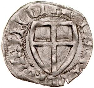 Henryk von Plauen 1410-1413, Szeląg, Av.: Tarcza wielkiego mistrza, Rv.: Tarcza krzyżacka.