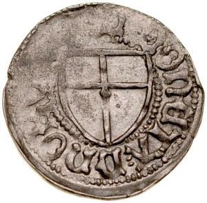 Marcin Truchsess von Wetzhausen 1477-1489, Szeląg, Av.: Tarcza wielkiego mistrza, Rv.: Tarcza krzyżacka.