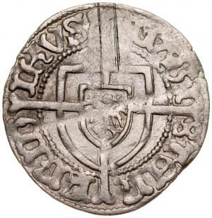 Fryderyk von Sachsen 1498-1510, Grosz, Av.: Tarcza wielkiego mistrza, Rv.: Tarcza krzyżacka.