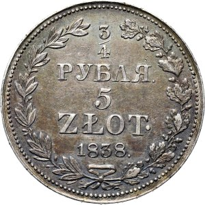 Mikołaj I, 3/4 rubla/5 złotych 1838 MW, Warszawa, REWELACYJNE!!