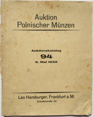 Auktion Polnischer Munzen, Auktionskatalog 94 z 9 maja 1932 roku Leo Hamburger, Frankfurt a. M., oryginał