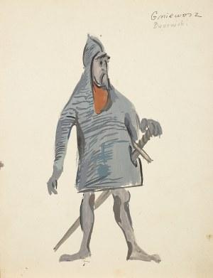 Tadeusz Kantor (1915 Wielopole Skrzyńskie-1990 Kraków), Projekt kostiumu Gniewosza do Zawiszy Czarnego, 1959 r.