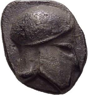 Massilia. Obole au casque ionien, type assimilé au trésor d'Auriol, 475-460 av...