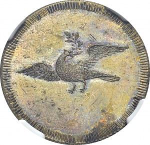 Griquatown. 10 Pence ND (1815-16). Obv. GRIQUA / 10 / TOWN. Rev. Dove. KM Tn5...
