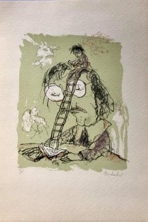 ALBRECHT VON BODECKER LITOGRAFIA BARWNA 1982 24 x 33