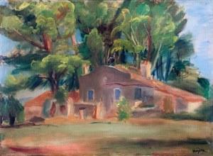 Henryk Hayden (1883 Warszawa - 1970 Paryż), Pejzaż z domem wśród drzew, 1930 r.