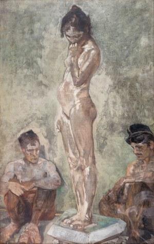 Jacek Malczewski (1854 Radom - 1929 Kraków), Modelka między woźnymi Akademii