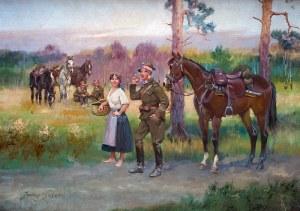 Jerzy Kossak (1886 Kraków - 1955 tamże), Spotkanie na drodze