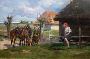 Jerzy Kossak (1886 Kraków - 1955 tamże), Dziewczyna i ułan, przed 1930 r.